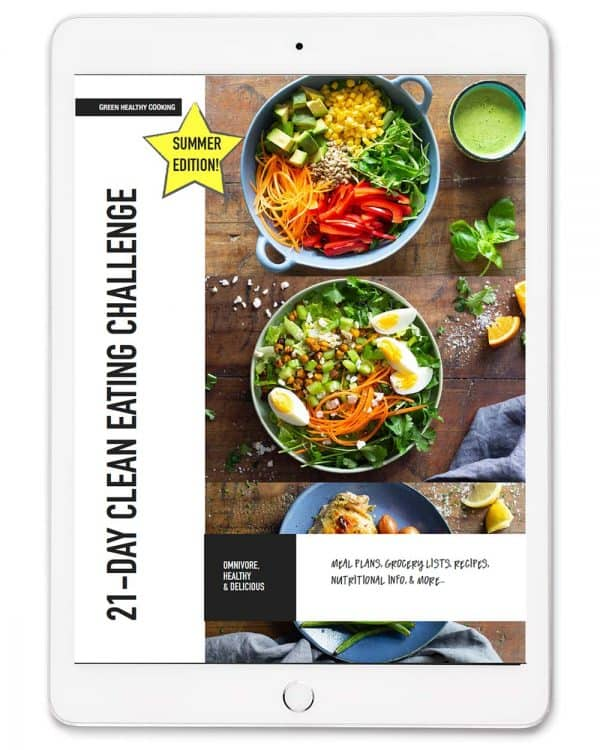 bookcover of clean eating challenge with recipe photos and book title shown on an ipad