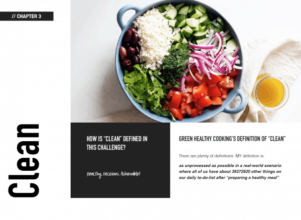 page out of clean eating challenge e-book showing definition of clean