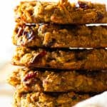 Five Oatmeal Breakfast Cookies stacked on top of each other.