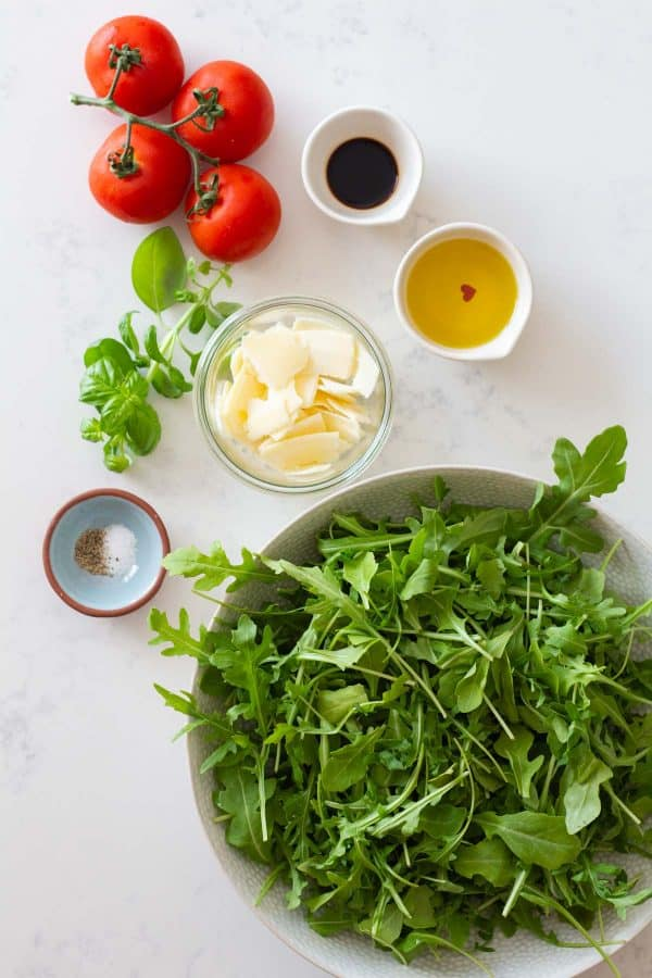 Arugula Salad Ingredients showed individually one next to the other