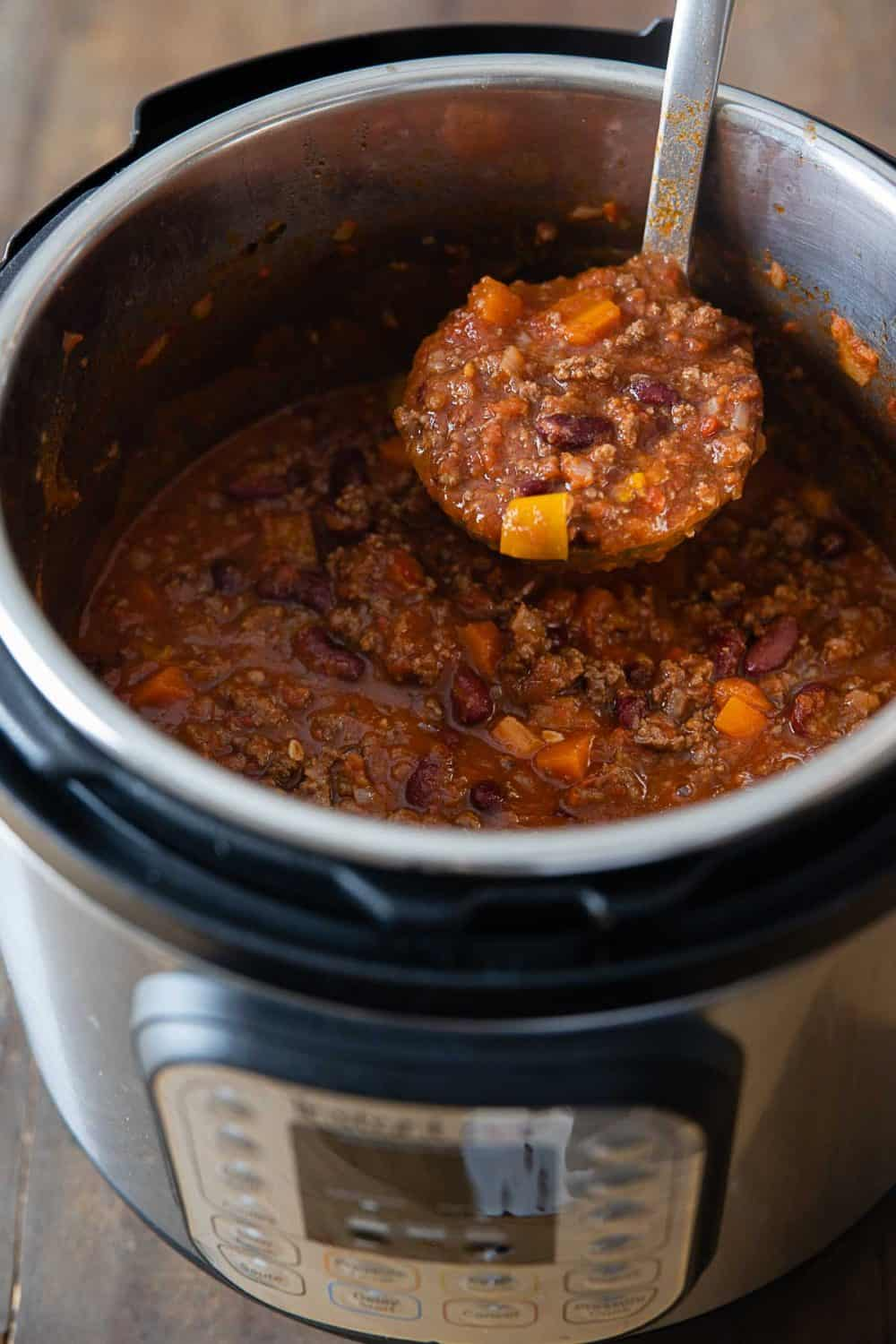 Chili con carne in the Instant Pot.