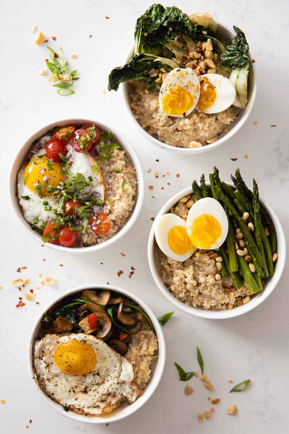 Creamy steel cut oats with savory toppings such as vegetables and eggs.