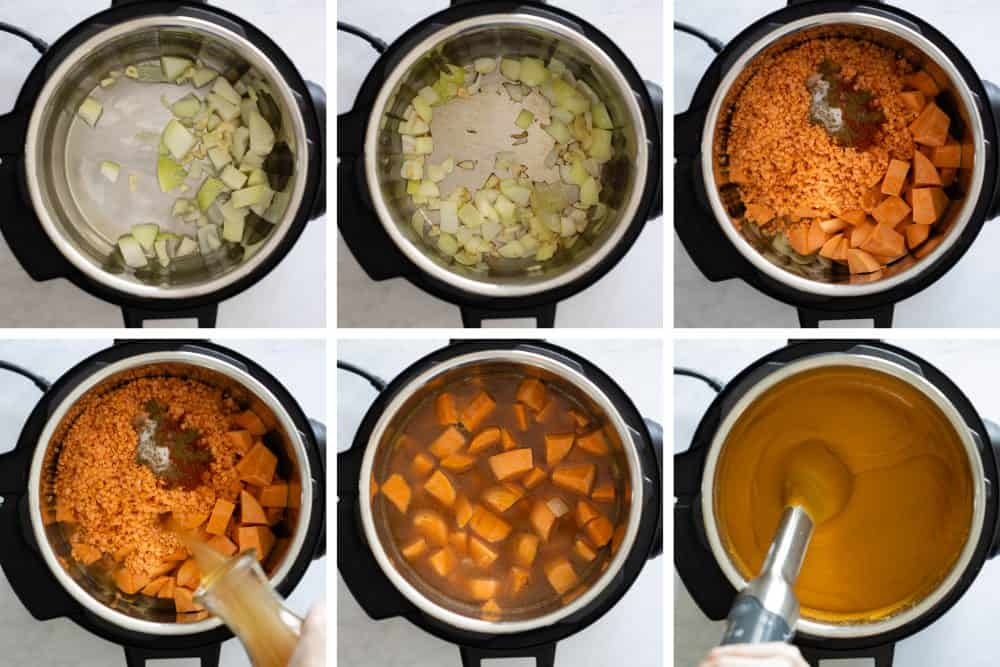 Photo collage of step-by-step instructions to make sweet potato soup.