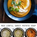 Photo collage of step-by-step instructions of how to make sweet potato soup for Pinterest.