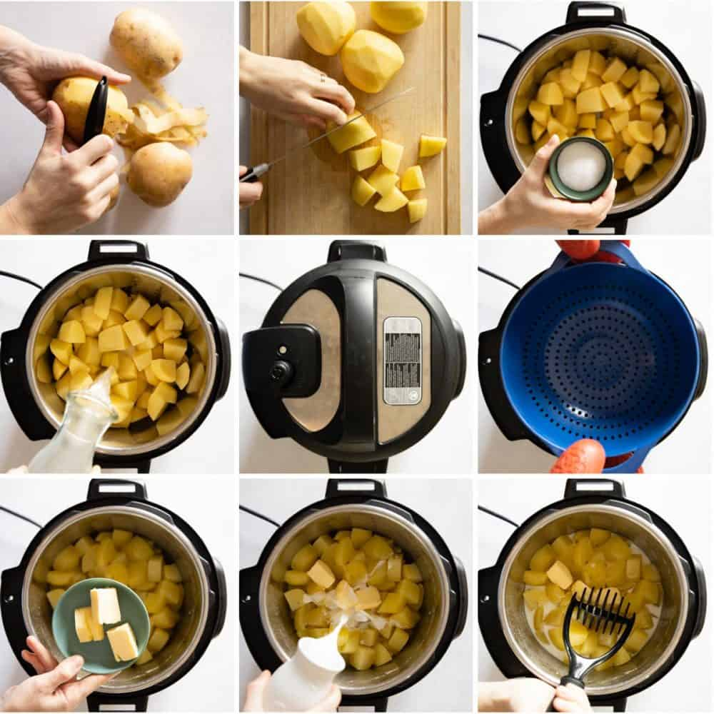 Photo collage of step by step instructions of how to make mashed potatoes in the Instant Pot. Instant Pot Mashed Potatoes recipe