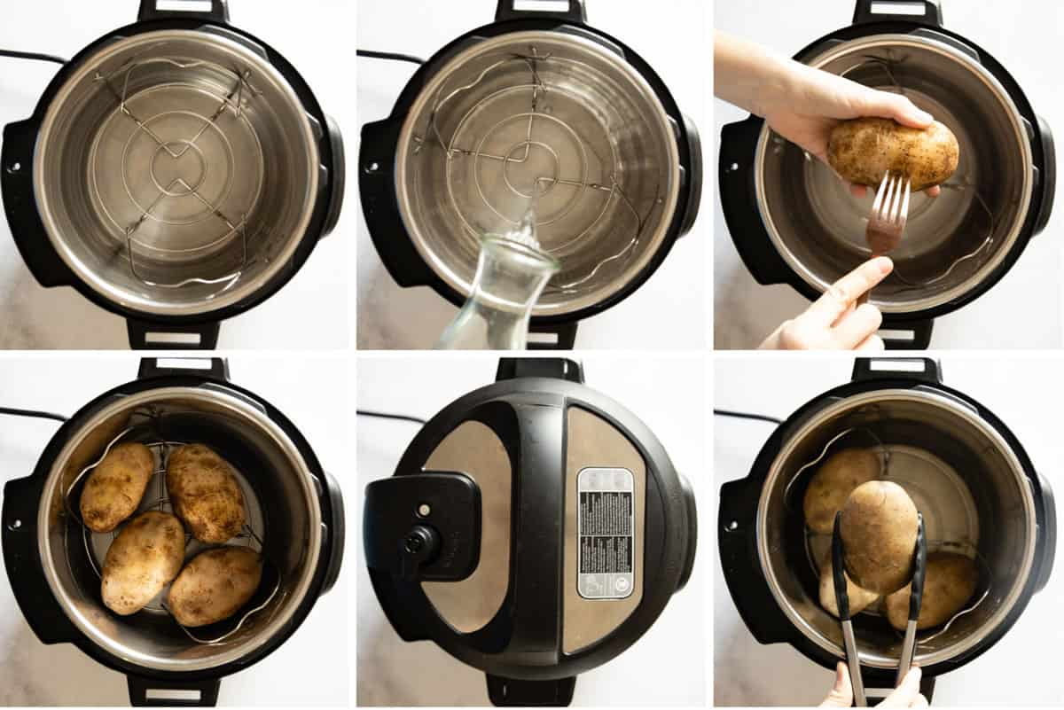 Photo collage of instant pot cooking process for baked potatoes. Step-by-step photo instructions.