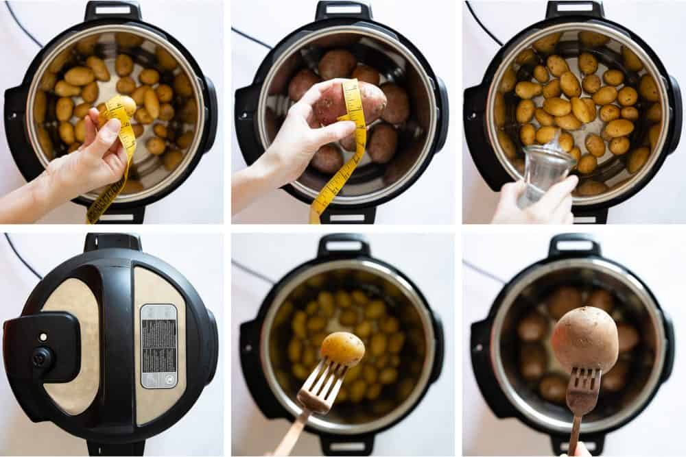 Photo collage of step-by-step instructions on how to cook potatoes in the instant pot. instant pot boiled potatoes