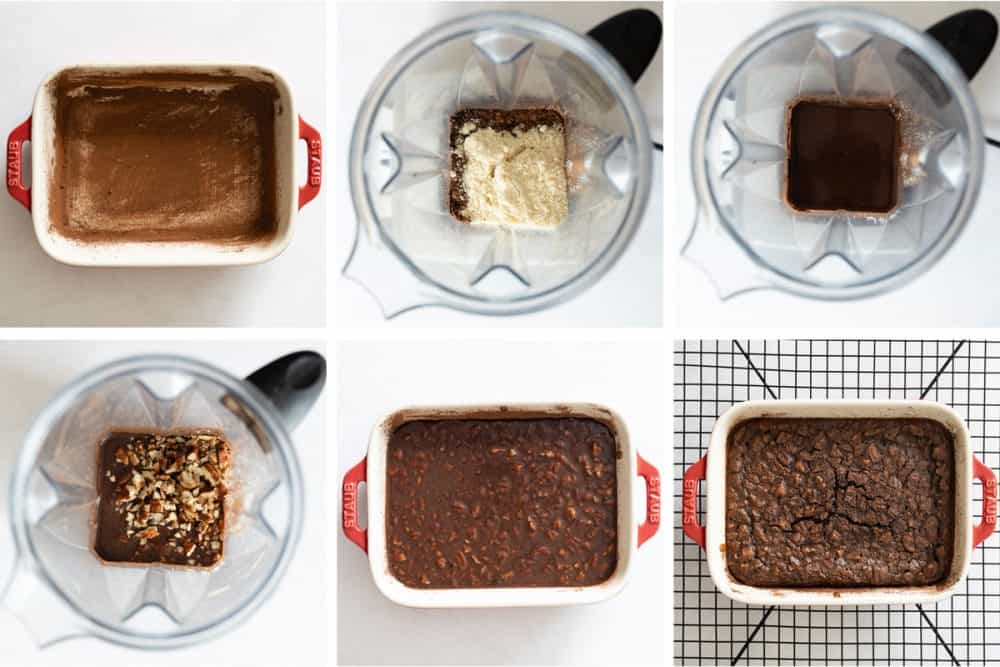 Photo collage of step by step process to make paleo brownies recipe.