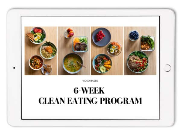 Ipad with 6-Week Clean Eating Program Thumbnail showing on the screen.