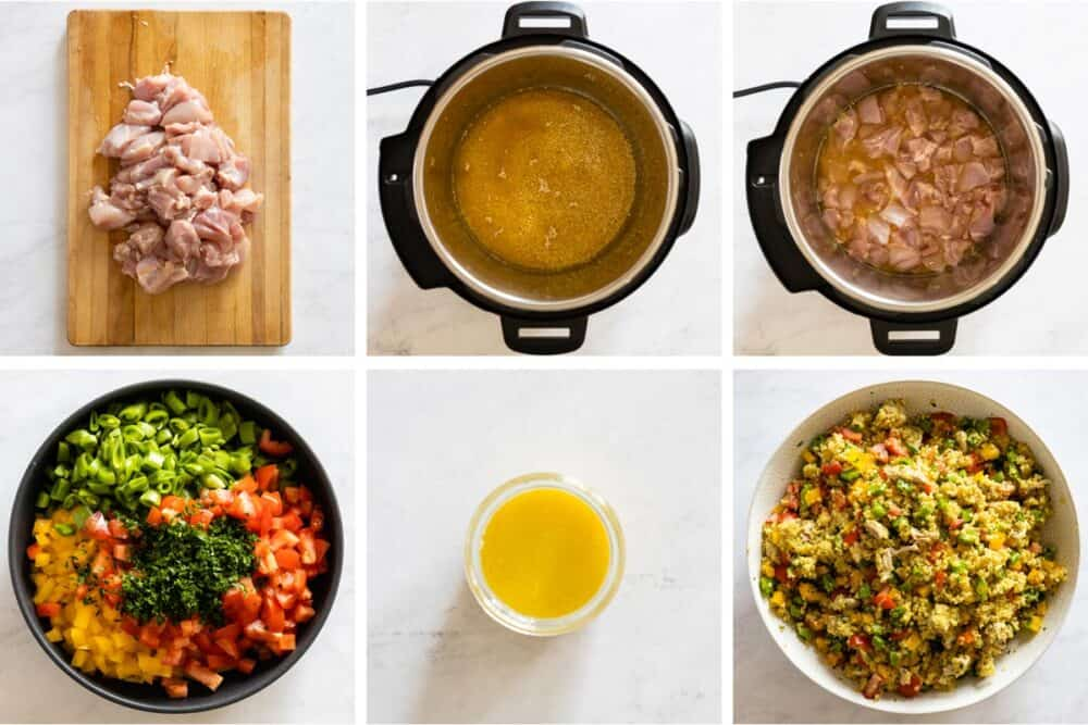 Photo collage of step-by-step process of making chicken quinoa meal prep bowls.