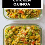 Two Chicken Quinoa Meal Prep Bowls on a kitchen counter with text overlay for Pinterest.