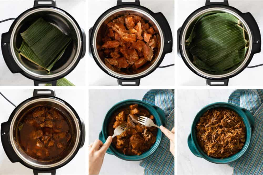 Photo collage of process of making cochinita pibil in the pressure cooker.