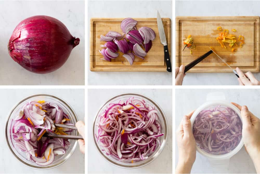 Photo collage of process to make spicy pickled red onions.