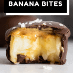 One chocolate covered banana bite bitten into to show inside texture with text overlay for Pinterest.