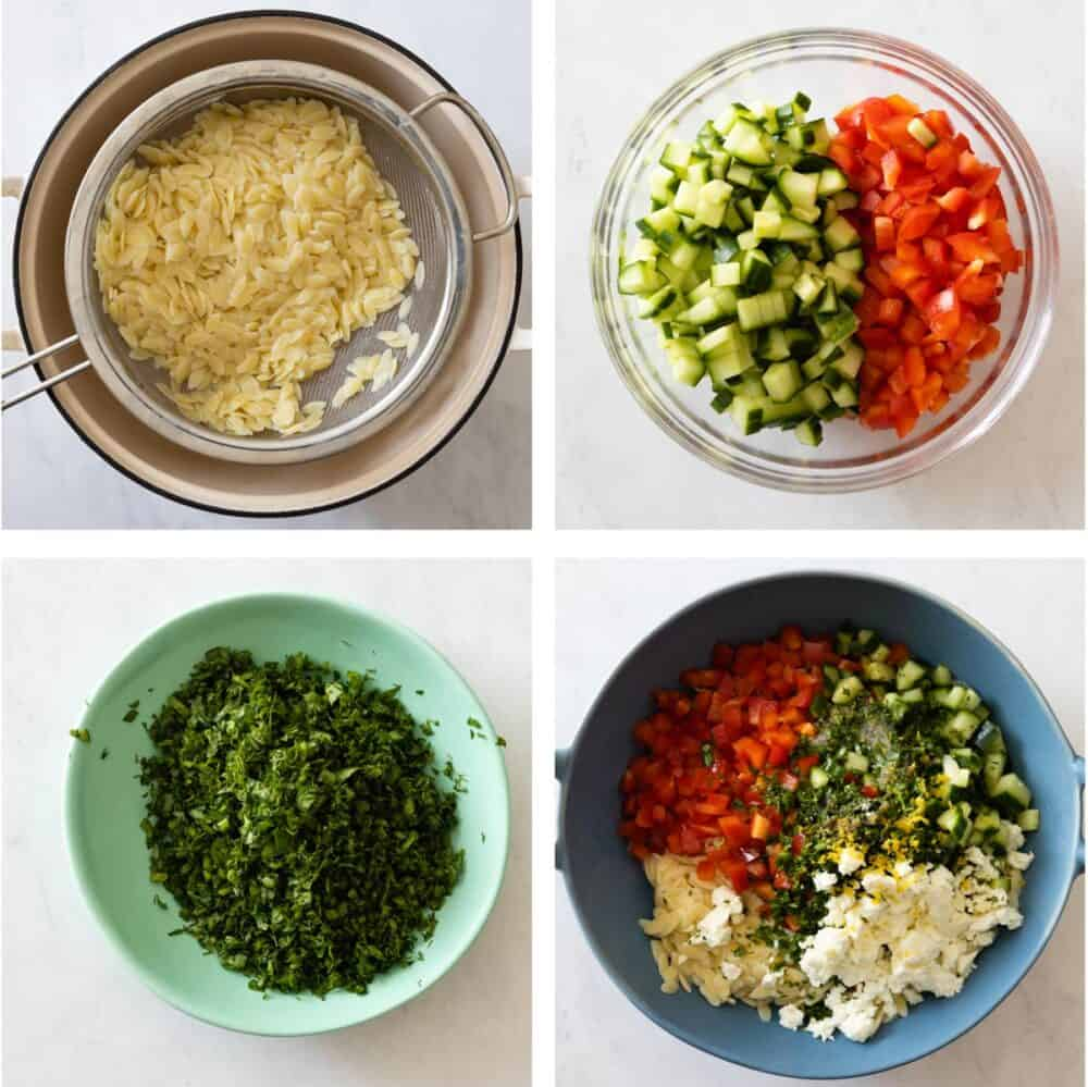 Photo collage of 4 images showing the step-by-step process of making lemon orzo salad.