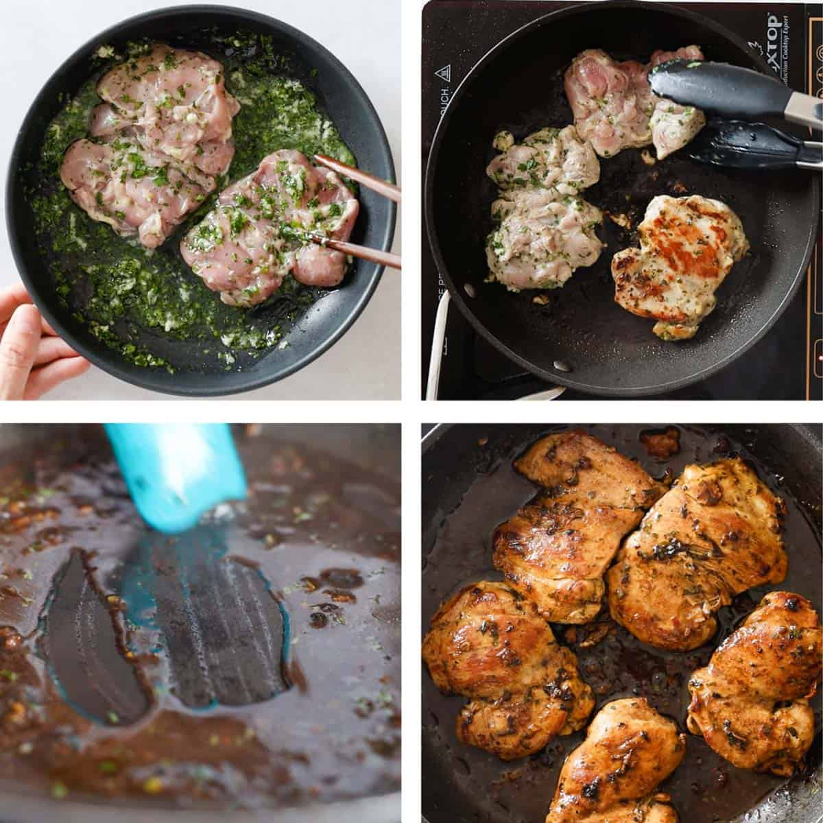 Photo collage of step-by-step process of how to make cilantro lime chicken thighs.
