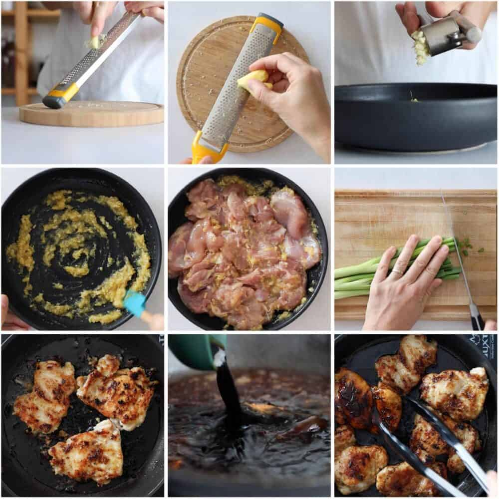 Photo collage of step-by-step process of how to make lemongrass ginger chicken.