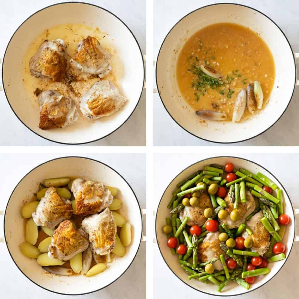 Photo collage of step-by-step process of how to make this chicken dinner.