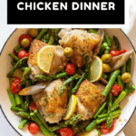 Finished Mediterranean Chicken Dinner in a white pan with text overlay for Pinterest.