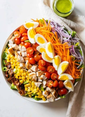 8-ingredient chopped salad in a large bowl.