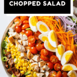 8-ingredient chopped salad in a large bowl with text overlay for Pinterest.