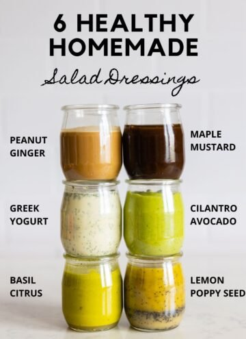 """6 glass jars with salad dressings with title reading """"6 healthy homemade salad dressings""""."""