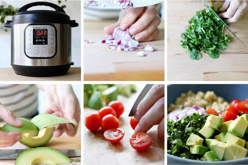 Photo collage of step-by-step process of how to make an easy quinoa salad.